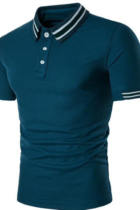 Men Cotton Short Sleeve Slim T Shirt solid Tops Fashion Button tops Clothes Polo