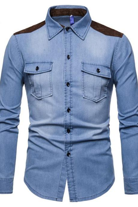 New Fashion Men Shirt Long Sleeve Denim High Quality Cotton Men Casual Turn Down Collar Shirt