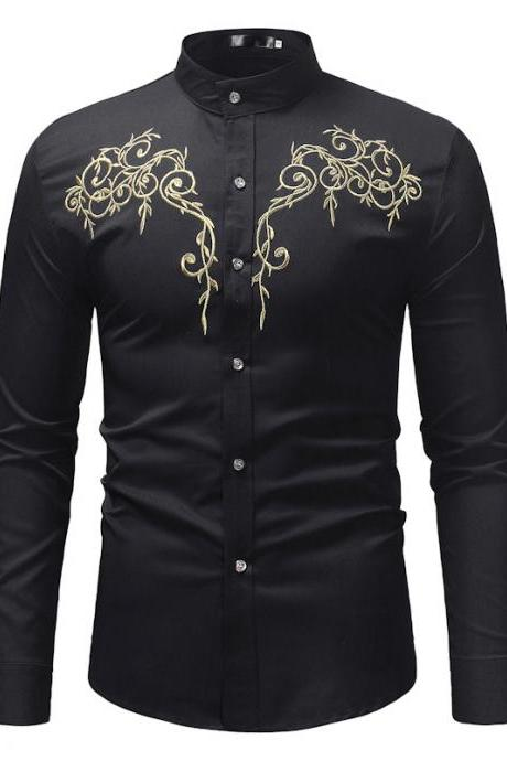 MEN Wear Large Size Long Sleeve Casual Embroidery Base Stand Collar Shirt