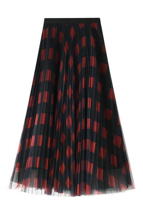 women Pleated skirt Color plaid mesh pleated mid length female skirt