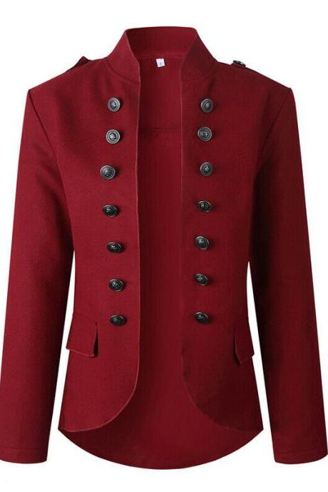 Women's Slim OL Casual Button Blazer Ladies Outwear Long Sleeve Suit Coat Jacket