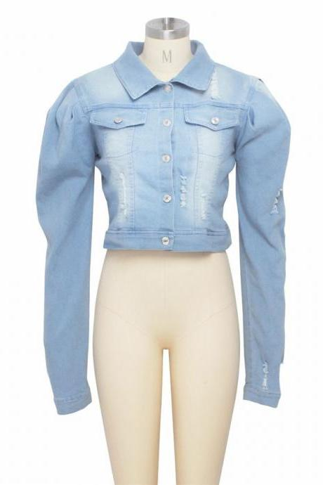Stylish New Women Long Sleeve Single Breasted Turn Down Collar Casual Denim Coat
