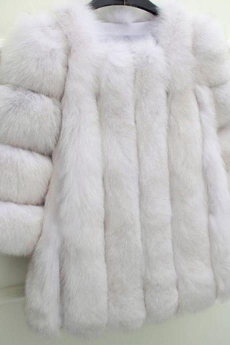 Women Plus Size Short Faux Fur Coat Warm Furry Jacket Long Sleeve Outerwear fake fur Winter and Autumn casual party overcoat