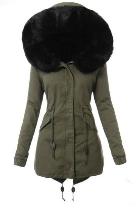 Fashion Women's Faux Fur Hooded Coat Winter Warm Thicken Parka Jacket Outwear