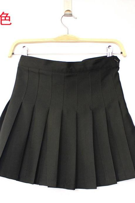 women Candy color pleated skirt playful girl A-line mini solid umbrella tennis student short skirt