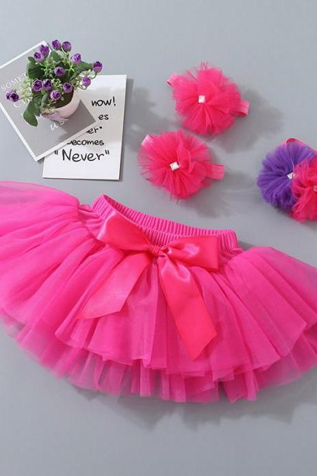 2020 Baby Girls Tutu Skirt 3Pcs Bloomers Newborn Outfits Fluffy Pettiskirt with flower headband footband Infant Clothing Set