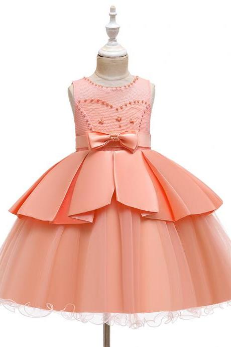 Girls Sleeveless Beaded Princess Puff Dress Irregular wedding dress children dress