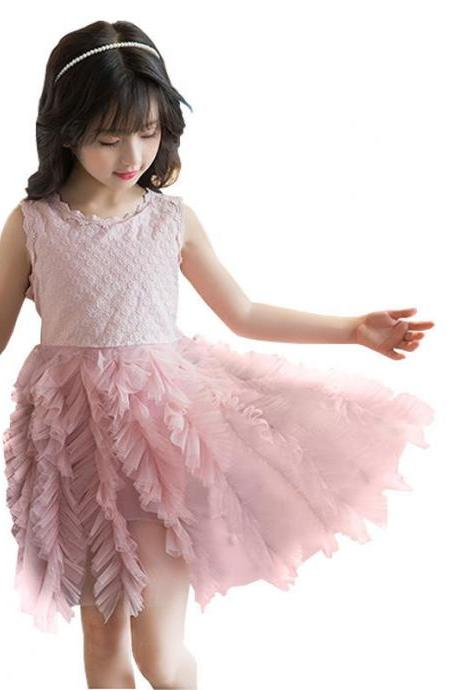 Summer Girl Dress Princess Wedding Party Little Girl Ceremonies Flower Lace Tutu Clothes