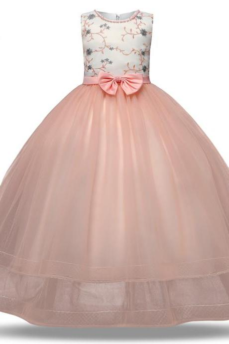 Flower Girls Dress New Princess Kids Embroidery Bow Vintage Children Wedding Party Formal Ball Gown