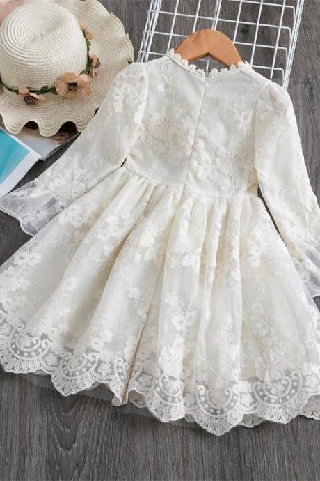 2020 spring summer new lace casual flower girls dress hot models lace sleeves children clothing