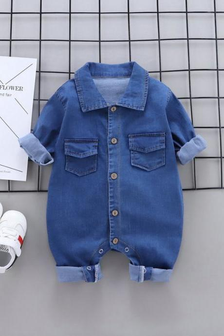 Infant baby jumpsuit spring and autumn clothing cotton denim long-sleeved baby boy hakama fashion cute clothes cartoon crawl clothes