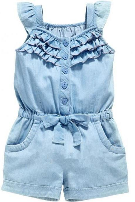 2020 Baby Summer Clothing Toddler Newborn Baby Girls Boys denim Romper Sleeveless Jumpsuits Solid Playsuits Sash Outfits