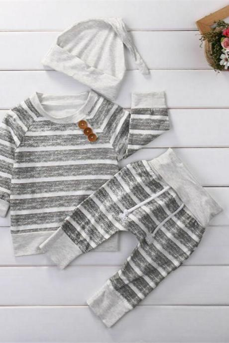 3pcs Newborn Baby Boy Girl Striped T shirt Tops +Pants+Hat Outfits Clothes Set