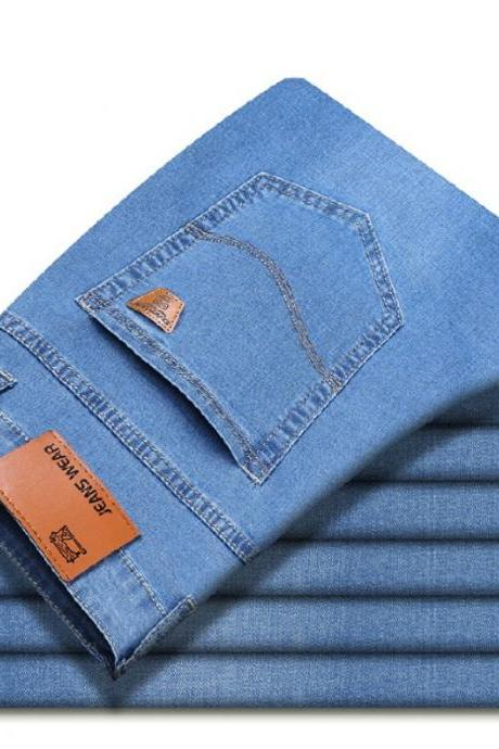 Summer New Men Casual Thin Jeans PantsBusiness Elastic Force Fashion Denim Jeans Trousers