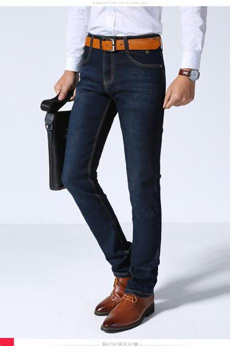 Spring Summer New Men Denim Pants Thin Business Casual Stretch Slim Male Jeans Trousers