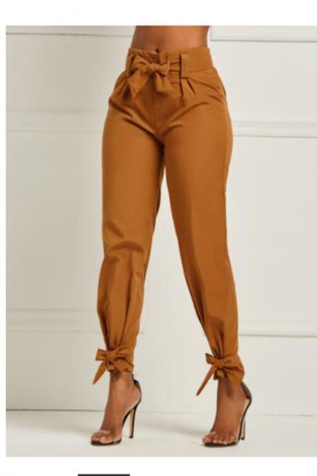 Spring Women Casual Pants Loose Bow Tie Ruffles Solid High Waist Belt Pocket Female Sashes Pants