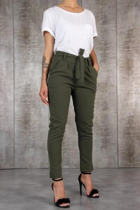 Women Casual Slim Thin Pants solid girl High Waist Trousers