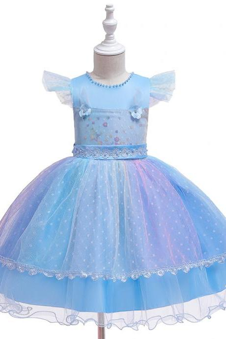 Unicorn Princess Beaded Lace Dress Kids Flower Girls Vintage Children Dresses For Wedding Party Halloween Cosplay Costume