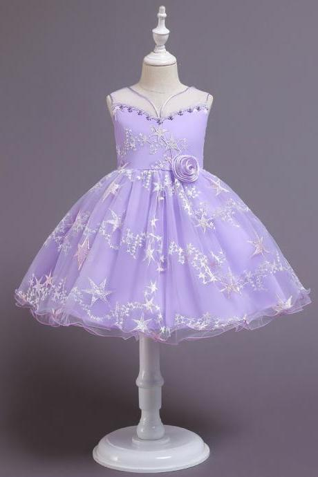 Korean children's skirt children girls princess dress star fluffy gauze dress Children's Day children's stage dress