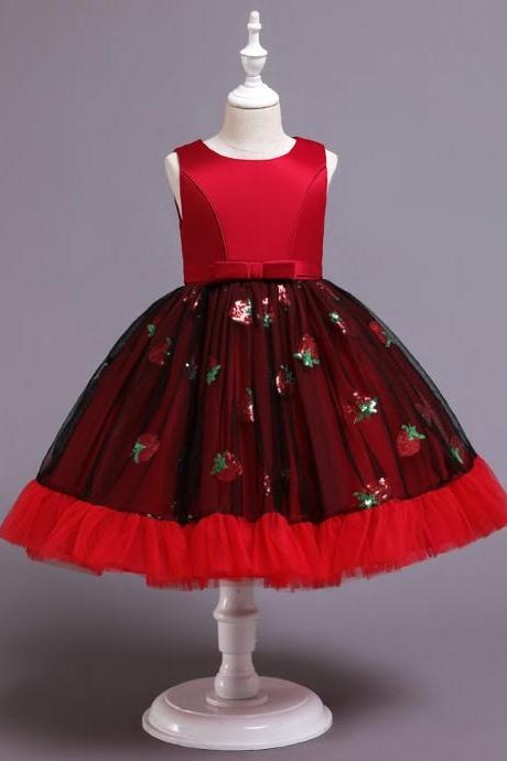 Children's dress skirt princess dress girls sequins Christmas strawberry show catwalk evening dress