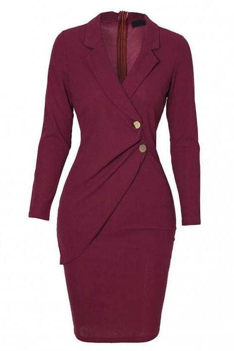 New Women Knee Dress Solid Turn Down Neck Long Sleeve Buttons Bodycon Casaul Work Formal Party Ladies Dress