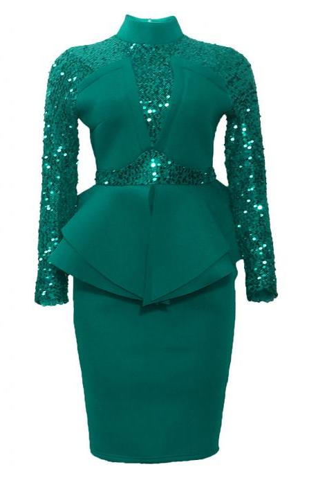 Women Sequin Dress Patchwork Long Sleeve Ruffles Slim Bodycon Evening Club Party Dress