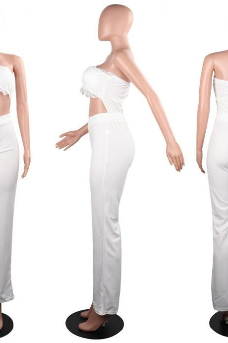 Women Wide Leg Jumpsuit Lace Strapless Back Zipper Casual Club Party Romper Overalls