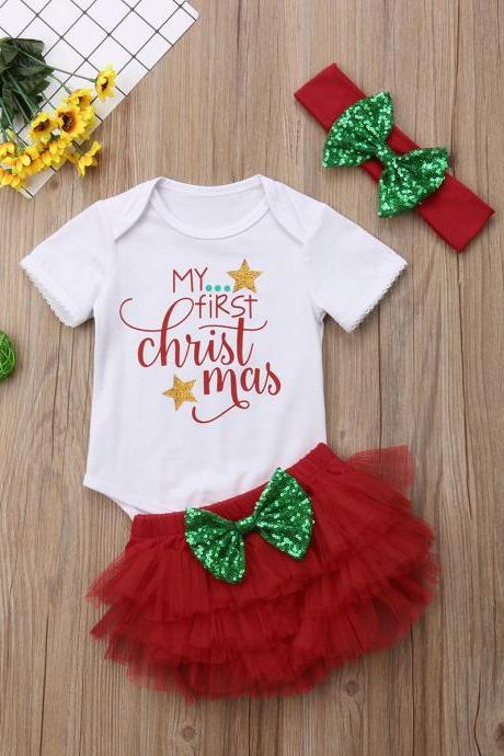 3PCS Set Newborn Baby Girl Xmas Romper Tops +Tutu Shorts Skirt Outfits Clothes