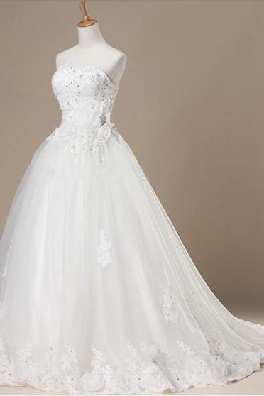 Discount Wedding Dress Princess Pregnant A line Strapless Floor length Lace-up Bridal Dresses