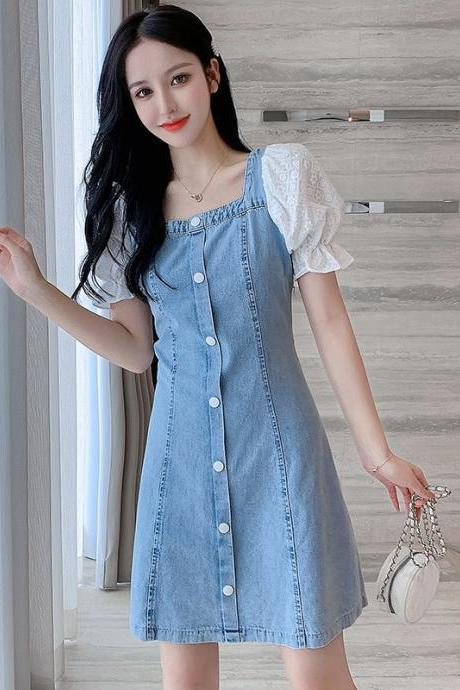 2021 summer women gentle wind waist dress square collar lace stitching flared sleeve A-line skirt denim dres