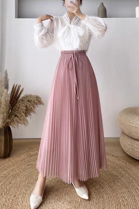 2021 Spring and Summer Skirt Women Lace-up Bow Drape High-waist Pleated Skirt
