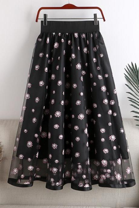 Summer new high-waisted thin mid-length fairy temperament small daisy print net yarn female skirt