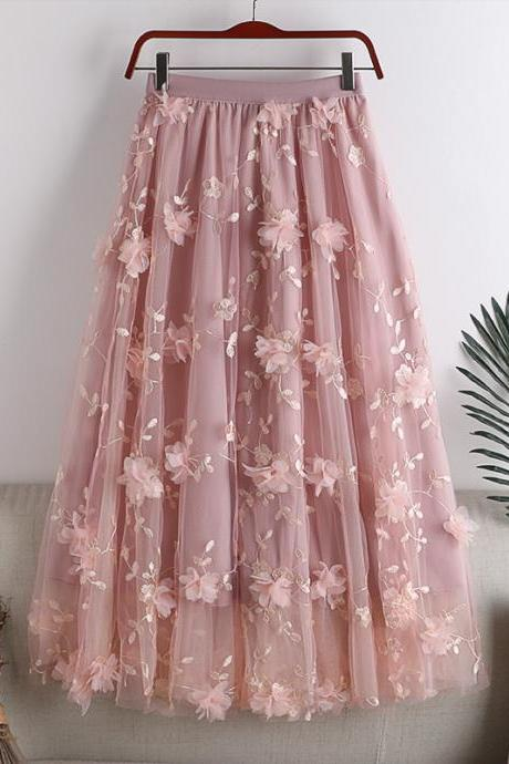 Early spring new high-waisted thin double-layer mesh large hem three-dimensional embroidery flower mid-length female skirt