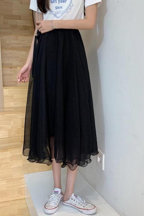New 2021 Spring Summer Skirts Womens Mesh Tulle Korean Elastic High Waist Midi Long Pleated Skirt