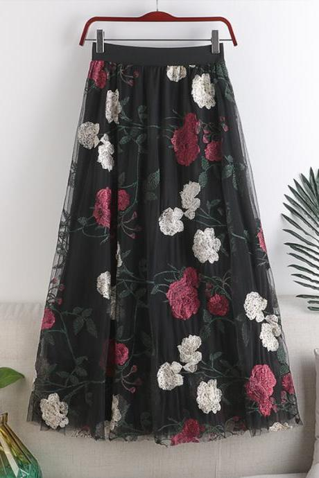 Spring 2021 high waist embroidery women skirt big flowers fashion sweet mesh mid-length fairy skirt