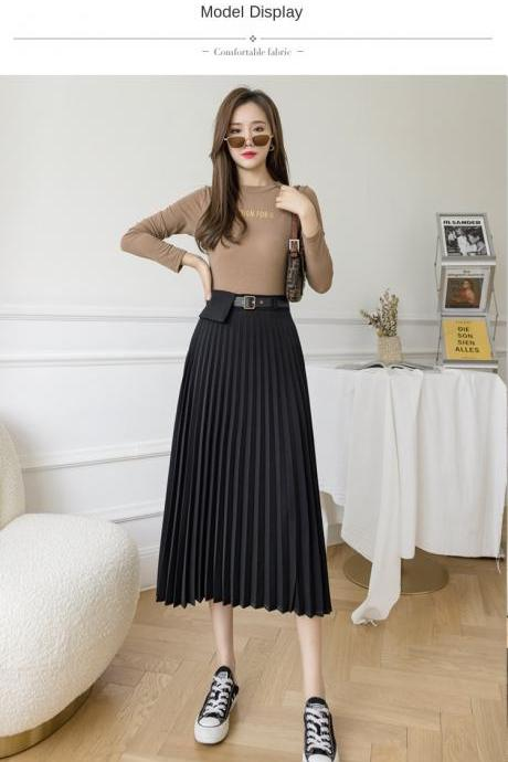 2021 Mid-length women Skirts Fashion Solid Spring Summer Pleated Skirts