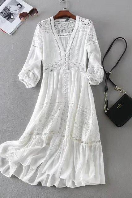 Summer new women dress white lace stitching buttoned deep V seaside holiday honeymoon dress