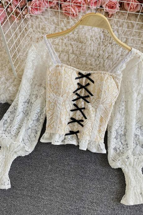 Lace bottoming shirt women foreign style small shirt spring super fairy puff sleeve square neck short long sleeve hollow top