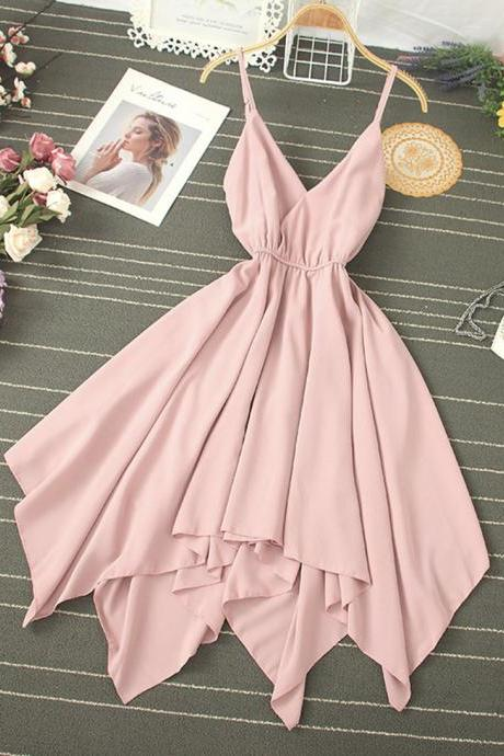 Seaside vacation sexy V-neck halter suspender skirt super fairy goddess temperament elastic waist irregular dress