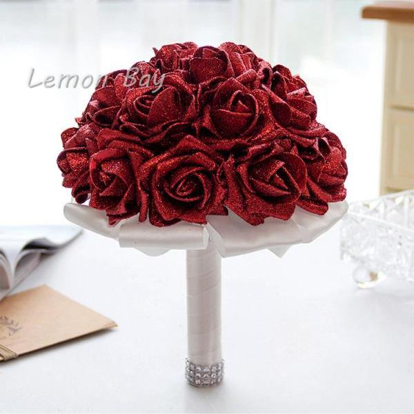 Artificial Handmade Rose Flower Bridal Bridesmaid Party Wedding Bouquet red Color