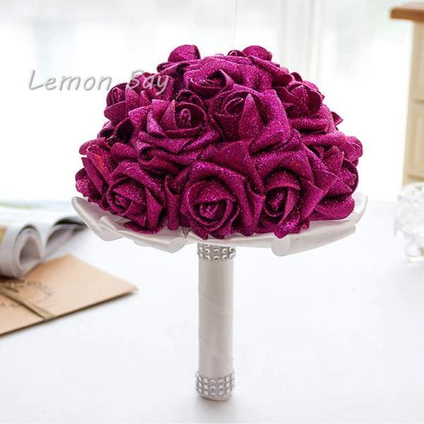 Artificial Handmade Rose Flower Bridal Bridesmaid Party Wedding Bouquet fuchsia Color