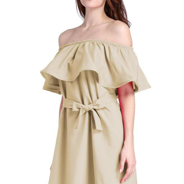 Khaki Ruffled Off-The-Shoulder Short Shift Dress Featuring Bow Accent Belt