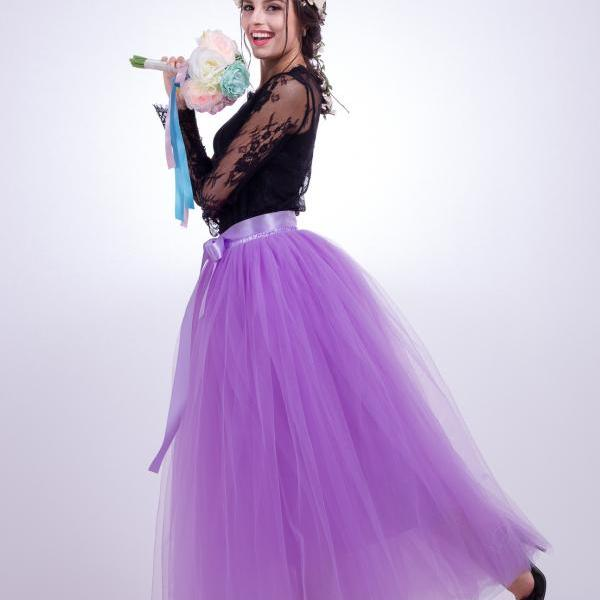 6 Layers Tulle Skirt Summer Maxi Long Muslim Skirt Womens Elastic Waist Lolita Tutu Skirts lavender