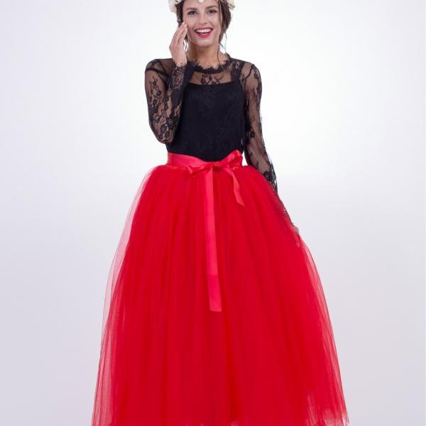 6 Layers Tulle Skirt Summer Maxi Long Muslim Skirt Womens Elastic Waist Lolita Tutu Skirts Red
