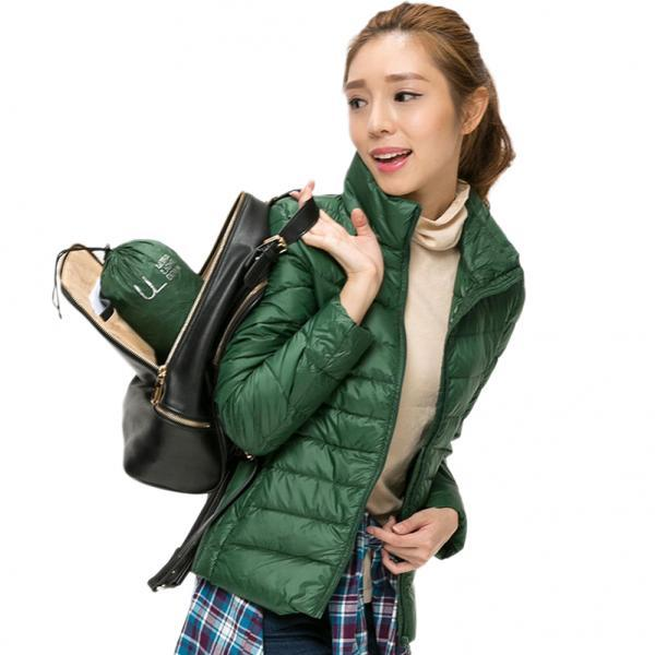 Women's Packable Winter Ultra Light Weight Short Duck Down Jacket Coat green