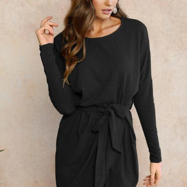 Women Autumn Mini Asymmetrical Dress Long Sleeve O Neck Belted Cocktail Party Club Dress black