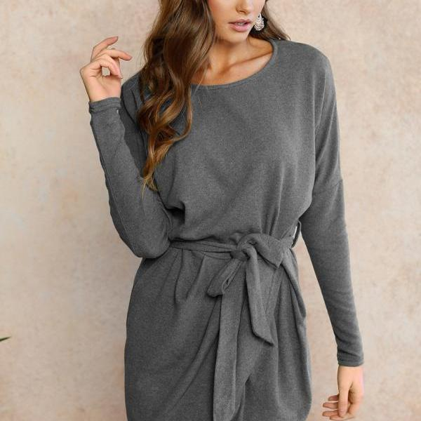 Women Autumn Mini Asymmetrical Dress Long Sleeve O Neck Belted Cocktail Party Club Dress gray
