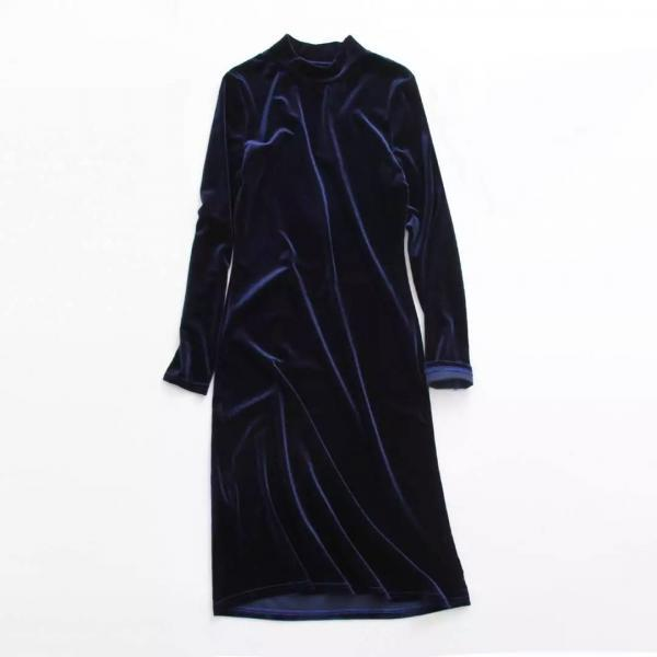 Navy Blue Velvet Mock Neck Long Sleeves Midi Bodycon Dress