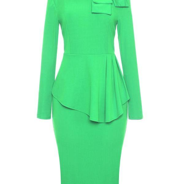 Bow High Neck Peplum Party Dress Long Sleeve Sheath Work Office Bodycon Pencil Dress green