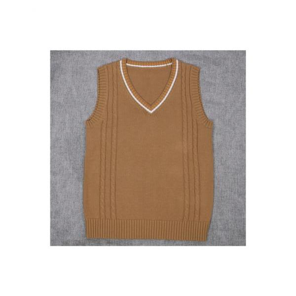 Japanese School Uniform Knitted Vest Women V-Neck Sleeveless Sweater JK Students Pullover coffee
